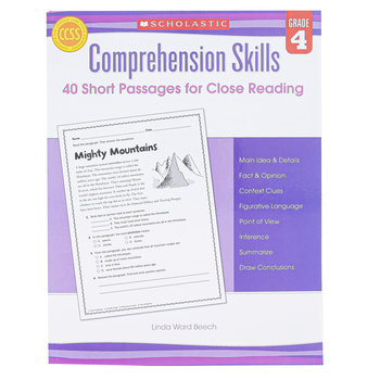 Scholastic, Comprehension Skills 40 Short Passages for Close Reading, 48 Pages, Reproducible, Grade 4