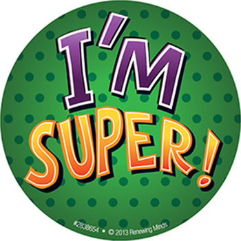 Superheroes Collection, I'm Super! Sticker Badges, 3 Inches, Green with Purple & Orange Text, Pack of 36