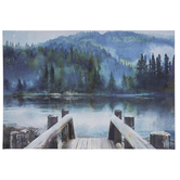 Mountain Lake Wall Decor, Canvas and MDF, Blue, 16 x 23 1/2 x 1 3/8 inches