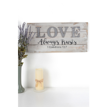 1 Corinthians 13:7 Love Wall Plaque, Wood Planks, Natural and White, 22 x 11 x 1 inch