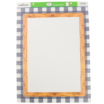 Farmhouse Lane Collection, Customizable Blank Chart, 17 x 22 Inches, Wood and Navy Gingham , 1 Each