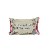 Manual Woodworkers & Weavers, Aunt Makes Life Sweeter Throw Pillow, Polyester, 12 1/2 x   8 1/2 inches