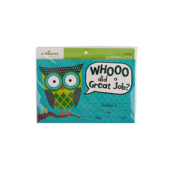 Renewing Minds, Owls Whooo Did A Great Job Certificate, 8.5 x 5.5 Inches, Multi-Colored, Pack of 30