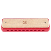 Hape, Blues Harmonica, Wood, Red & Tan, 5 3/4 x 1 x 1 3/4 inches