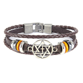 Holy Land Gifts, Star Of David & Cross Cord Bracelet, Brown & Silver, 8 1/2 inches