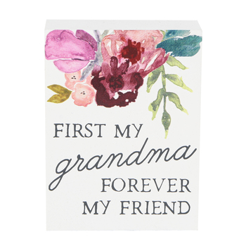Collins Painting & Design, First My Grandma Forever My Friend Block Sign, Wood, 3 x 4 x 1 inches