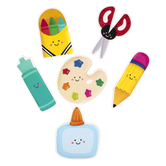 Renewing Minds, School Supplies Large Cutouts, 6 inches, 6 Assorted Designs, 36 Pieces