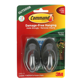 Command, Medium Outdoor Terrace Hooks, Slate, 2 Pack