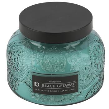 Darsee & David's, Beach Getaway Embossed Jar Candle, Aqua, 18 Ounces