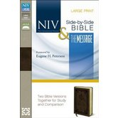 NIV MSG Parallel Study Bible, Large Print, Bonded Leather, Brown