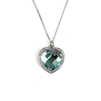 H.J. Sherman, Blue Crystal Heart Pendant Necklace with Small Cross Charm, Silver Plated, 18 inches