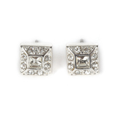 Howard's, Ear Sense, Square Post Earrings, Silver and Crystal Stones, 1/4 Inches