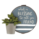 Blossom Bucket, What A Blessing To Call You Friend Tabletop Plaque, Resin, 3 1/4 x 3 3/4 inches