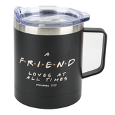 Kerusso, Friends and Fellowship Stainless Steel Mug with Handle and Lid, Black, White, Silver, 14 Oz