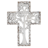 Tree Cut-Out Wall Cross, Resin, Whitewashed, 7 1/2 x 18 x 5/8 inches