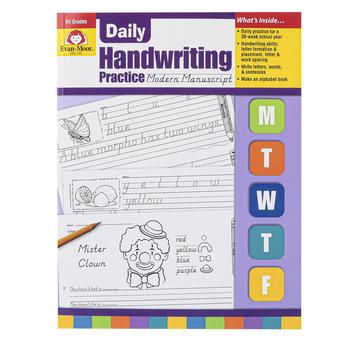 Evan-Moor, Daily Handwriting Practice Modern Manuscript, Teacher's, 112 pages, Grades K-6