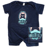 New Ewe, I Am Fearfully and Wonderfully Made, Baby Short Sleeve Romper, Navy, Newborn-18 Months