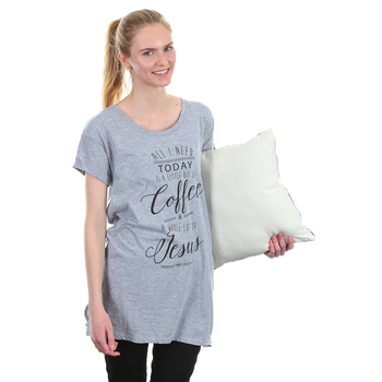 NOTW, All I Need Today Is Coffee and Jesus, Women's Sleep Shirt, Heather Gray, S-XL