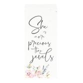She Is More Precious Than Jewels Wood Block, 3 1/2 x 1 5/8 Inches