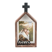 DaySpring, Love Decorative Tabletop Photo Frame, Brown and Whitewashed Shiplap, Holds 3.50 x 5 Photo