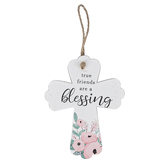 True Friends Are A Blessing Wood Cross, White with Pink Floral, 4 1/2 x 3 1/2 x 1/4 inches