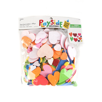 Playside Creations, Foam Heart Stickers, Assorted Sizes, 270 Count