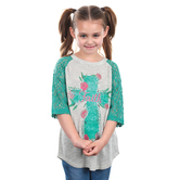 Southern Grace, Rose Faith Cross, Children's 3/4 Sleeve Raglan Shirt, Teal, 3T-YL