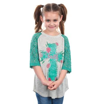 Southern Grace, Rose Faith Cross, Children's 3/4 Sleeve Raglan Shirt, Teal, 3T-YL