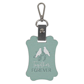 P. Graham Dunn, Together Forever Love Birds Key Chain, Wood, Teal, 2 1/2 x 3 1/2 inches