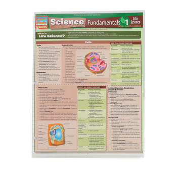 BarCharts Inc, Science Fundamentals 1 Cells-Plants-Animals Laminated Quick Study Guide, Grades 6-Adult