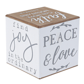 Live Simply Messages Wood Block Decor, White, Grey and Wood, 4 x 4 x 4 inches