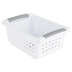 Sterilite, Small Stacking Basket Storage Container, Plastic, White and Gray, 12 1/2 x 8 5/8 x 5 3/8 Inches, 1 Piece