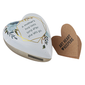 Demdaco, A Mother's Hug Lasts Art Heart Keeper, White, Blue, and Gold, 3 x 3.50 inches