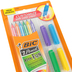 Bic, Xtra-Fun Striped #2 Pencils with Color-Coordinated Eraser Caps, Assorted, Set of 6