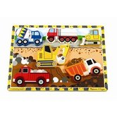 Melissa & Doug, Construction Vehicles Chunky Wooden Puzzle, Ages 2 to 4 Years Old, 6 Pieces