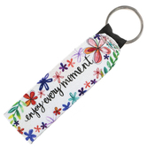 Brownlow Gifts, Enjoy Every Moment Wristlet Keychain, Neoprene, White and Purple, 6 1/2 Inches
