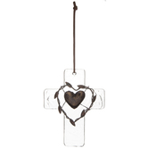 Mini Cross, Hammered Glass with Bronze Heart Center, Clear, 5 1/2 x 4 1/4 inches