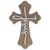 Jesus Wood Wall Cross Décor, Brown and White, 7 3/4 x 11 3/4 x 5/8 inches
