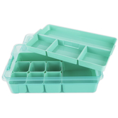 Ezy Storage, Sort It Storage Tub with Tray and Cups, 13.9 x 8.8 x 3.9 Inches, Gray or Turquoise, 1 Each