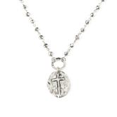 Set Free, Round Medallion with Cross Necklace, Zinc Alloy, Silver, 16 Inch Chain