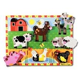 Melissa & Doug, Farm  Chunky Wooden Puzzle, Ages 2 to 4 Years Old, 8 Pieces