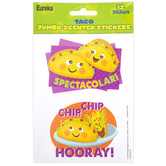 Eureka, Taco Scented Jumbo Stickers, 3 Inches, Multi-Colored, Pack of 12