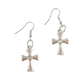 Bella Grace, Cross Dangle Earrings with Gems, Silver Toned, Zinc Alloy
