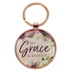 Christian Art Gifts, 2 Corinthians 12:9, His Grace Is Enough Keyring in Tin, Metal, Rose Gold and Plum , 3 x 1 3/4 inches