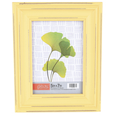 Green Tree Gallery, Yellow Distressed Wood Tabletop Photo Frame, 7.50 x 9.19 Inches, holds 5 x 7 Photo