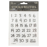 the Paper Studio, Handwritten Calendar Date Stickers, 64 Stickers
