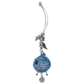 Abbey and CA Gift, Coach Car Charm, Metal, Blue and Silver, 4 inches
