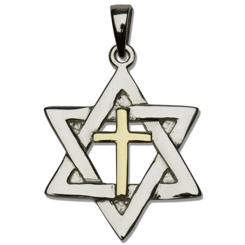 H.J. Sherman, Star Cross Pendant Necklace, Gold and Sterling Silver, 18 inches