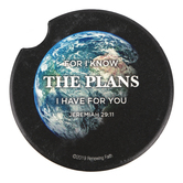 Renewing Faith, Jeremiah 29:11 For I Know The Plans Car Coaster, Absorbent Sandstone, Black, 2 1/2 inches