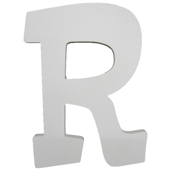 Letter R, White Wood, 9 inches